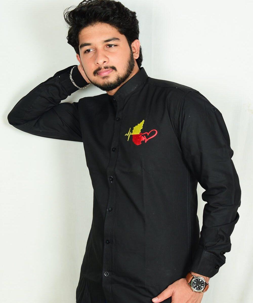 Kannada-Karunada-Chakravarthi-BlackFullArm-Shirt01