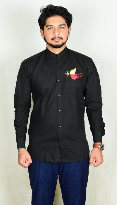 Kannada-Karunada-Chakravarthi-BlackFullArm-Shirt02